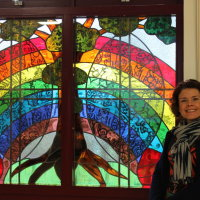 Window for St Matthew's Church of England Primary School, Stroud, Gloucestershire, with Head Teacher Mrs Thomson