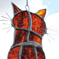 Tabby cat - custom glass hanging
