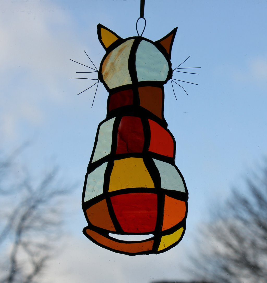 Cat glass hanging