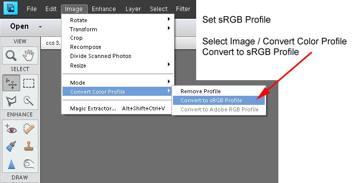 How to set sRGB