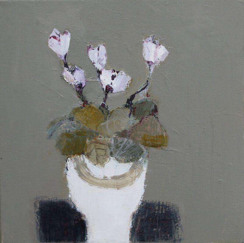 Cyclamen in a White Pot