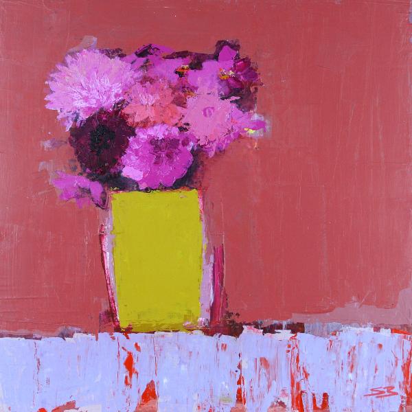 Pink Dahlias in a Yellow Pot