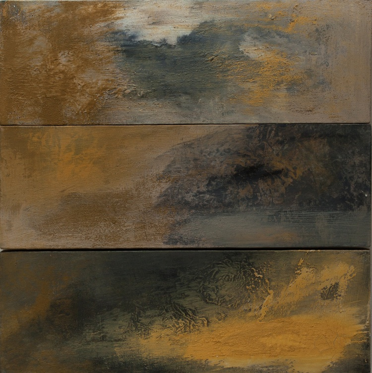 Sur Mer 1, 2, & 3, mixed media on linen, 2014. ( 8 x 24 inches each)