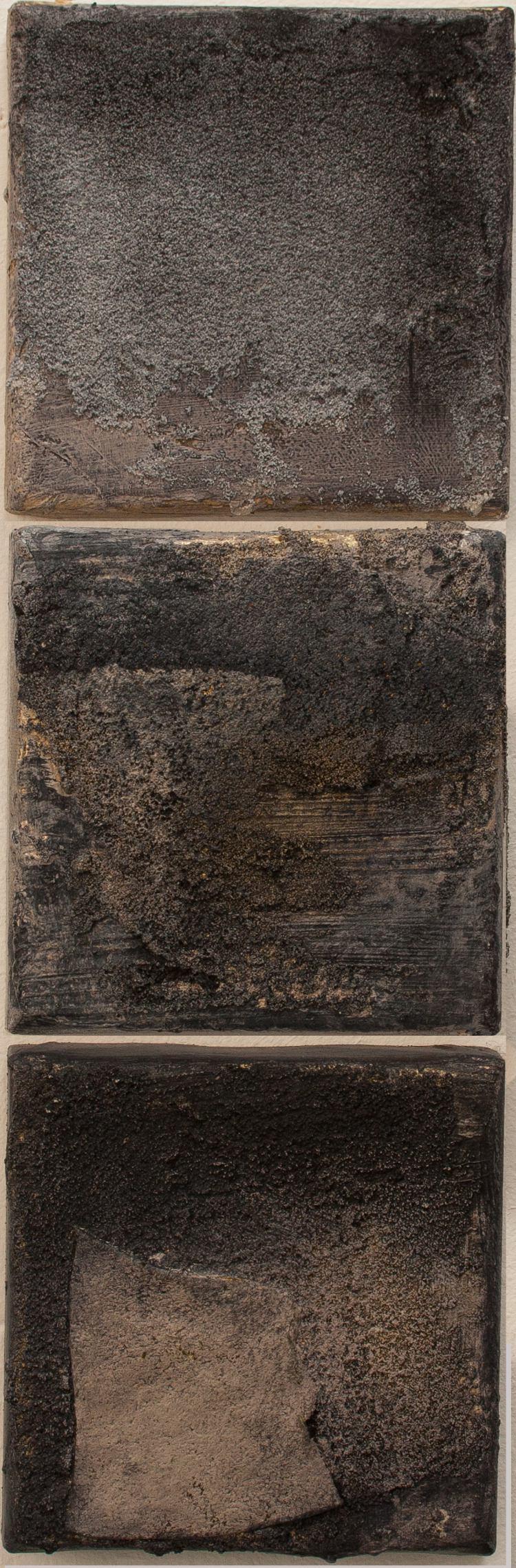 Argelès dans la Nuit triptych, mixed media on linen, (6 x 6 inches each)