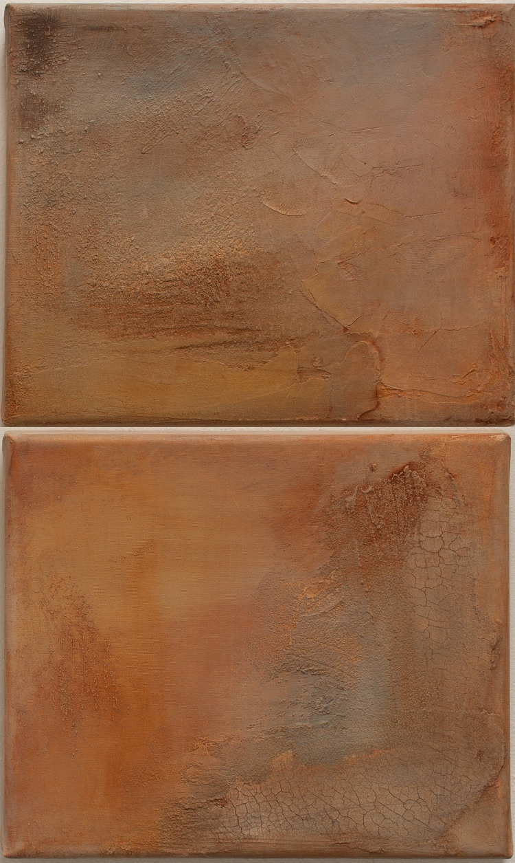 Lost Landscapes (diptych) mixed media on linen, 2014. (9.5 x 12 inches each)