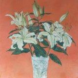 White lilies, orange background