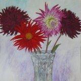 4 Dahlias in vase