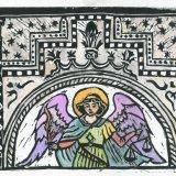 Angel card, linocut