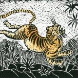 Tiger, linocut