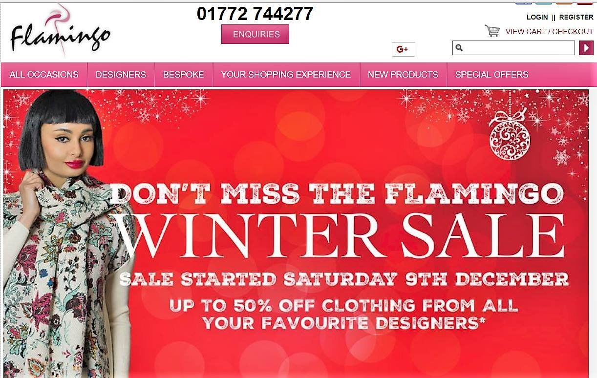 On the Homepage of 'Flamingo' Boutique