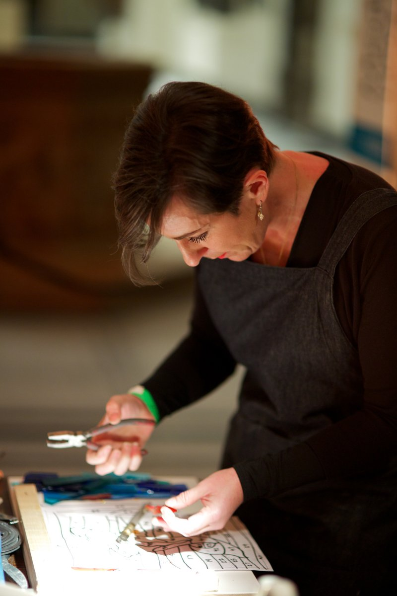 Demonstrating stained glass making at the V&A