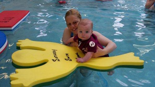 Erin loves the frog float