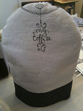 Coffee cosy by Bridget Davies