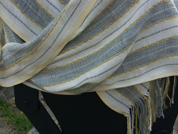 grey/gold/white stole SOLD