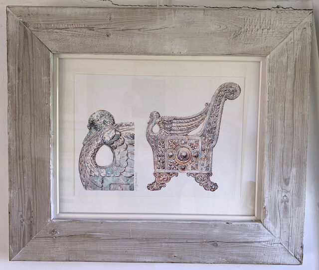 Grace watercolour in recycled wood and white lacquer double frame