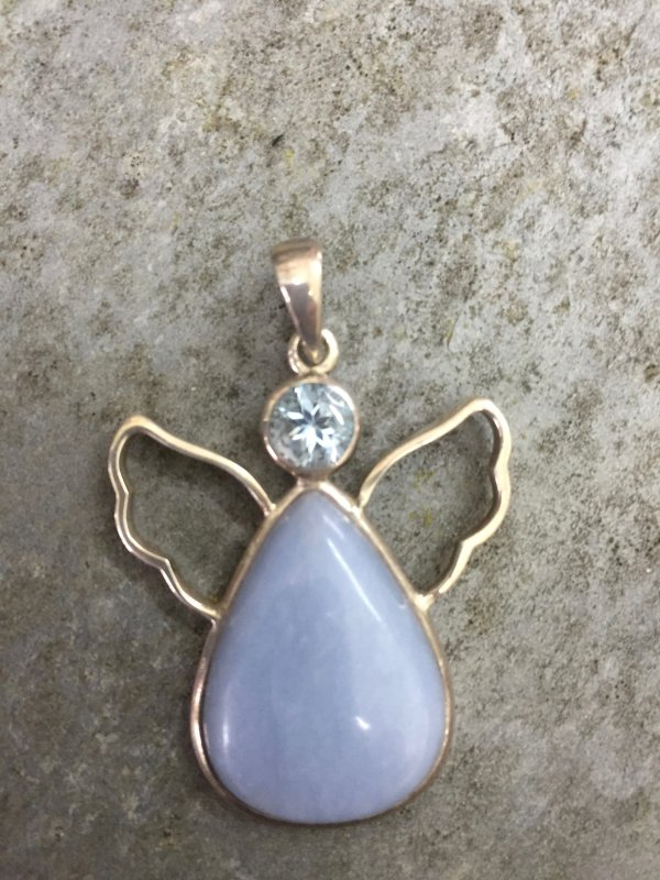 Peace Angel set with blue topaz head and angelite body
