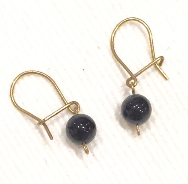 small black onyx droplet earrings with gold posts