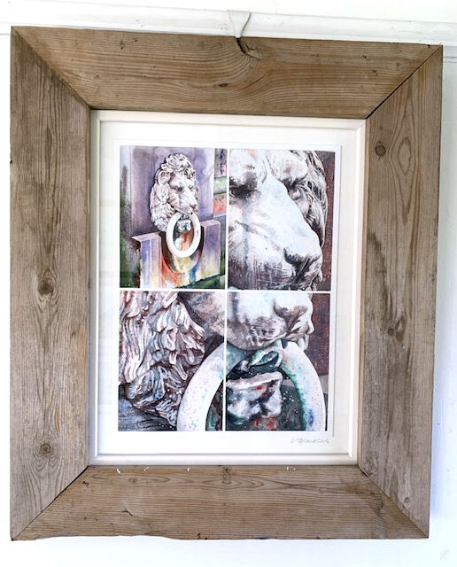 On The Brink double framed in recycled wood and white lacquer