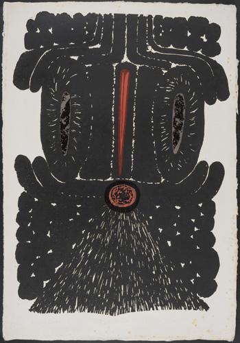 Red Beak A/P block print by Tadek Beutlich