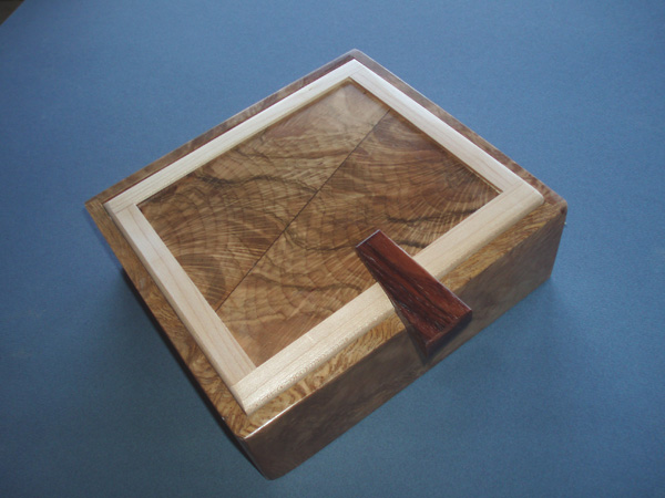 Holm Oak, Maple and Rosewood Jewellery Box by David Baker