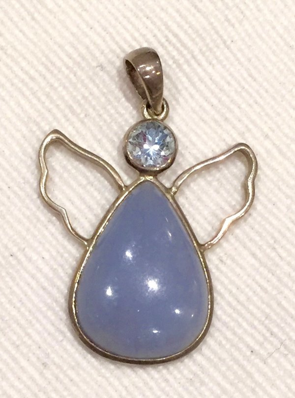 Peace angel pendant with blue angelite body and faceted blue topaz head