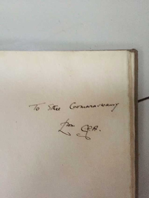 signed by-CR Ashbee to Ethel Mairet Coonaswarmy