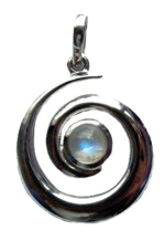 Silver spiral pendant with moonstone