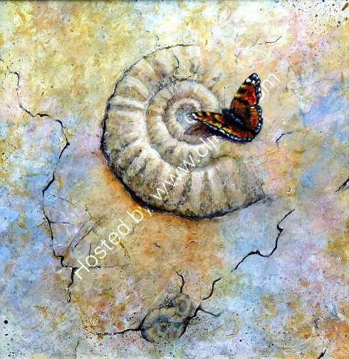 Living Fossil, Tortoisshell Butterfly with Ammonite