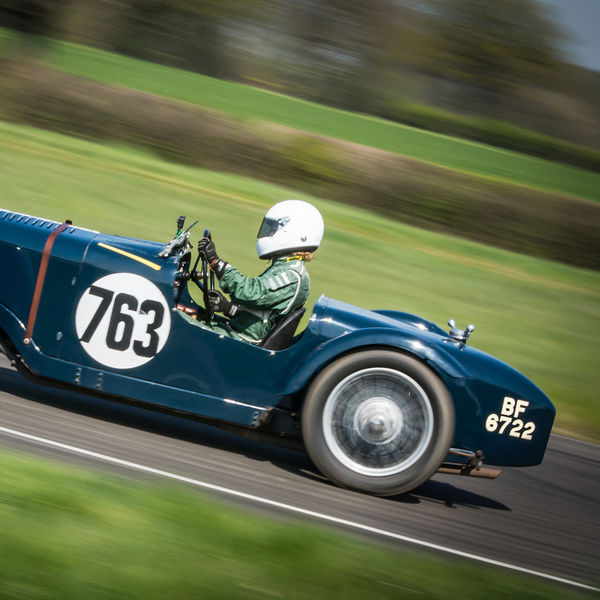 teal vintage racing car at speed on curborough sprint course