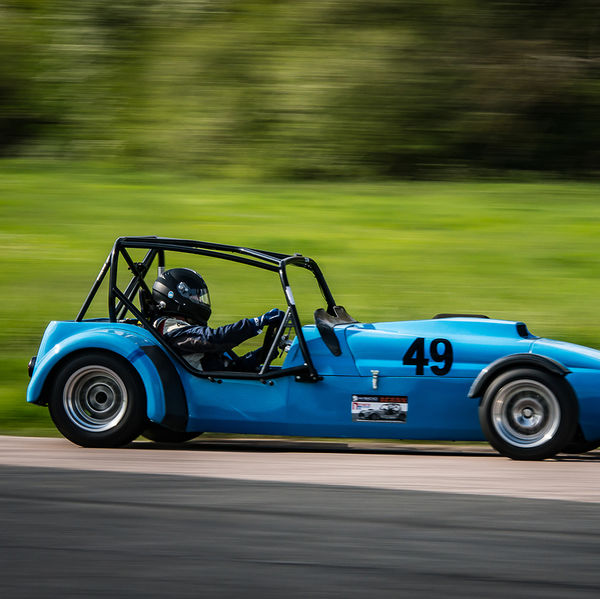 Blue Lotus 7 Caterham Westfield at speed on Curborough Sprint Course