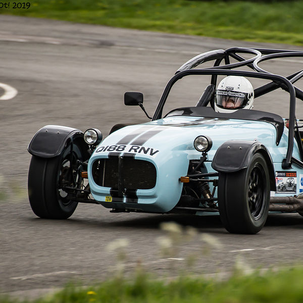 Light Blue Lotus 7 Caterham Westfield at speed on Curborough Sprint Course