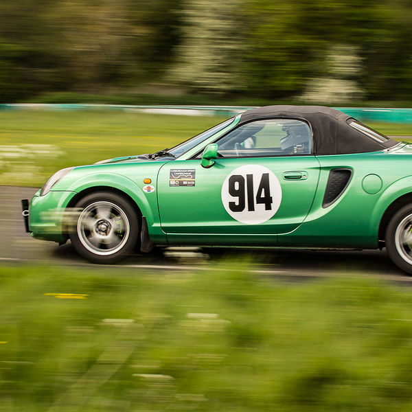 bright greem toyota mr2 sprinting at curborough sprint course