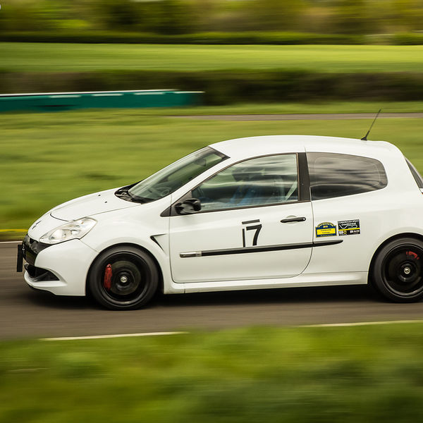 white renault clio at speed on curborough shenstone straight