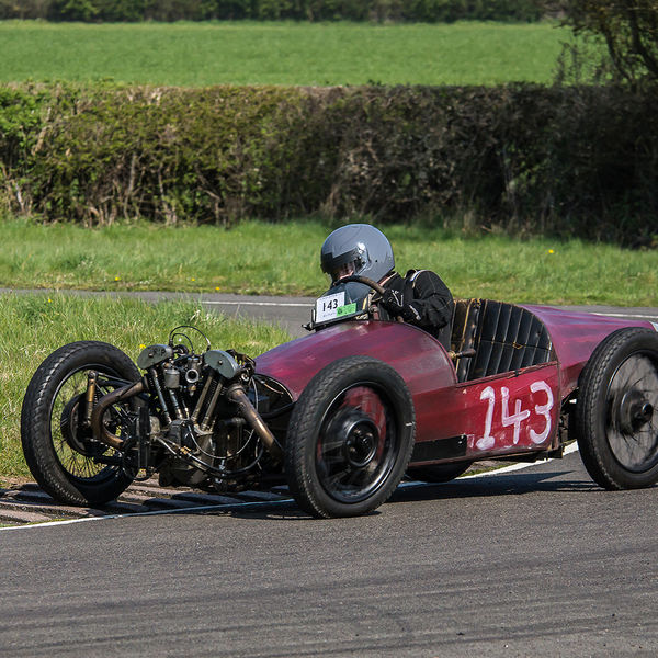 red jap engined vintage racing car at speed on curborough sprint course