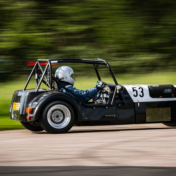 Black Lotus 7 Caterham Westfield at speed on Curborough Sprint Course