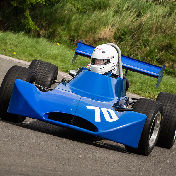 blue motorcycle engined race car rounding curborough sprint track fradley hairpin corner