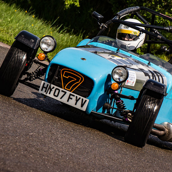 Blue Lotus 7 Caterham Westfield opposite lock at hairpin bend on Curborough Sprint Course