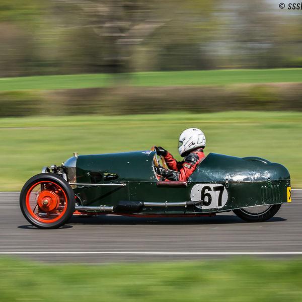 Green morgan vintage racing car at speed on curborough sprint course