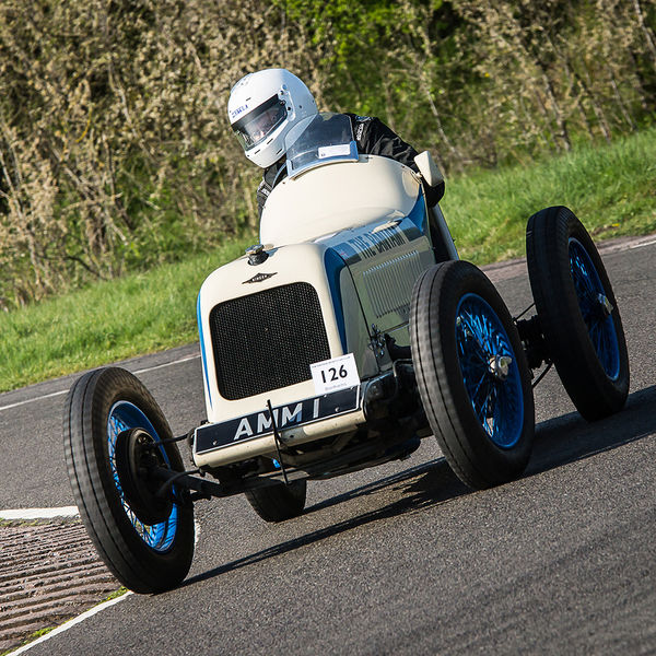 white vintage racing car at speed on curborough sprint course