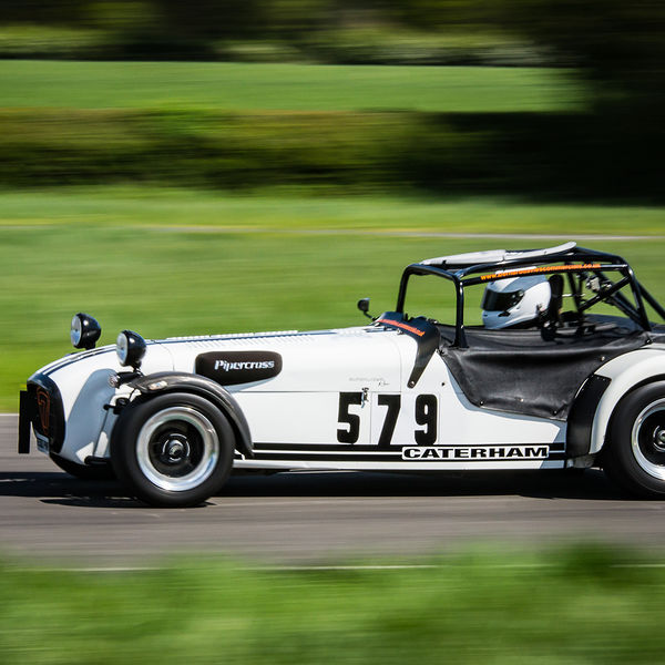 White Caterham 7 at speed along the Curborough sprint course shenstone straight