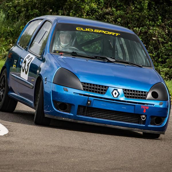 blue renault clio rounding curborough sprint track fradley hairpin corner