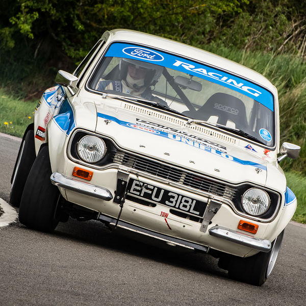 classic ford escort mark one rally car rounding curborough sprint track fradley hairpin corner