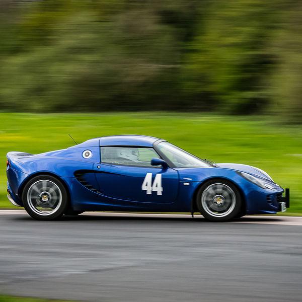 blue lotus elise negotiating flagpole corner during curborough sprint championship 2019