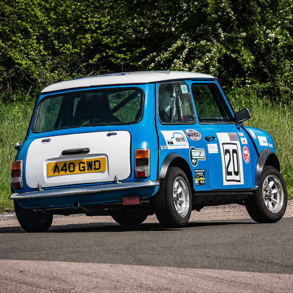 blue racing mini cornering at speed on curborough sprint track