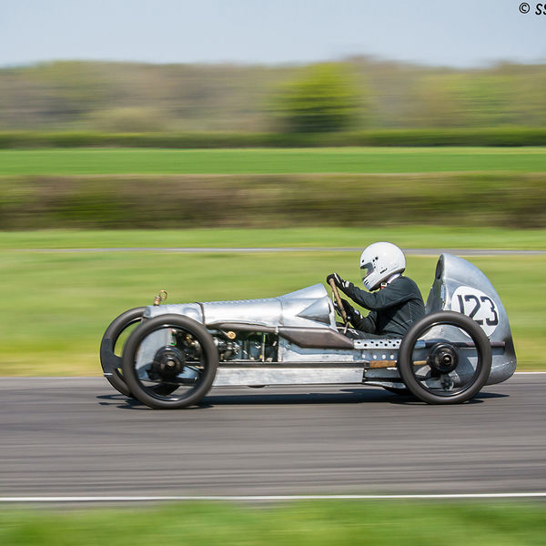 aluminium bodied vintage racing car at speed on curborough sprint course