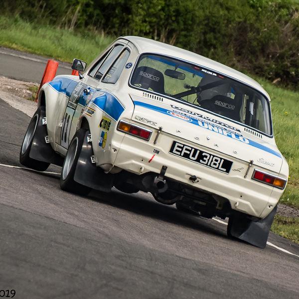 classic mark one ford escort at speed through molehill corner at curborough sprint track