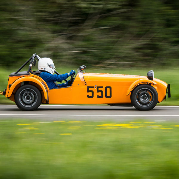 Orange Lotus 7 Caterham Westfield at speed on Curborough Sprint Course