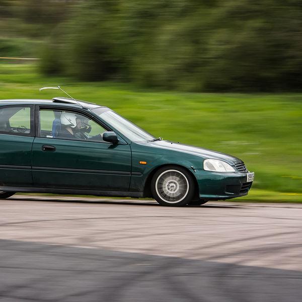 Green honda civic at speed on Curborough Sprint Course