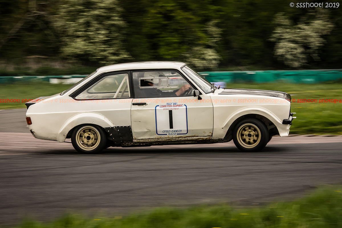 White ford escort mark 2 at speed on Curborough Sprint Course