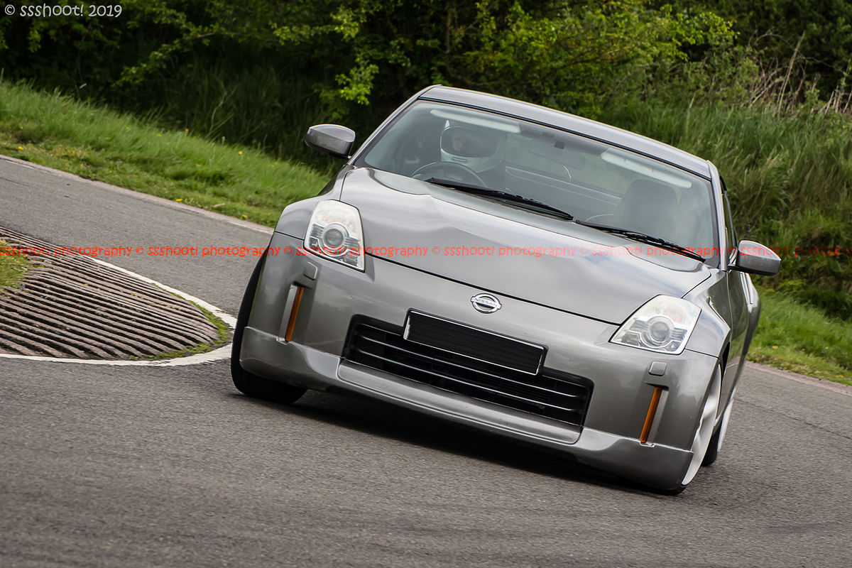 Grey Nissan 370Z at speed on Curborough Sprint Course
